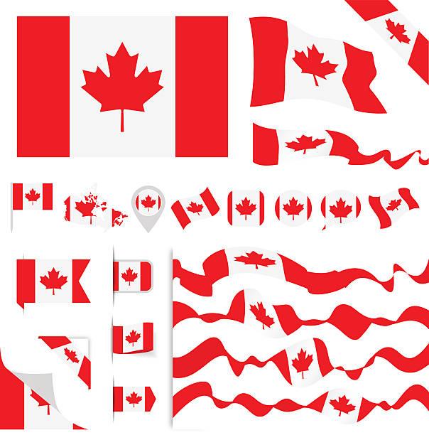 Canada Flag Set vector art illustration