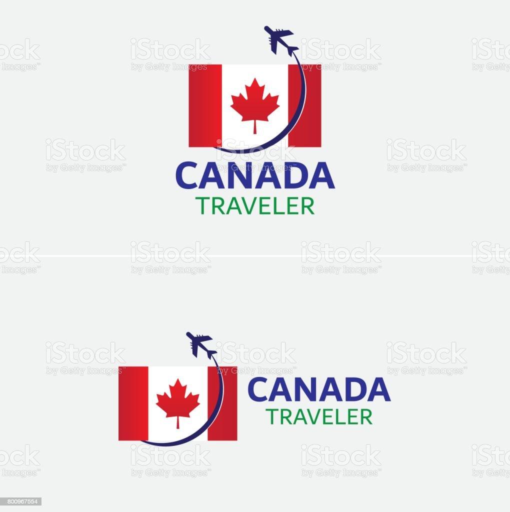 Canadá Bandera Viajero Icono Símbolo Plantilla - Arte vectorial de ...