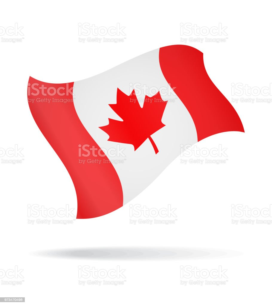 Canada - Flying Flag Vector Glossy Icon vector art illustration