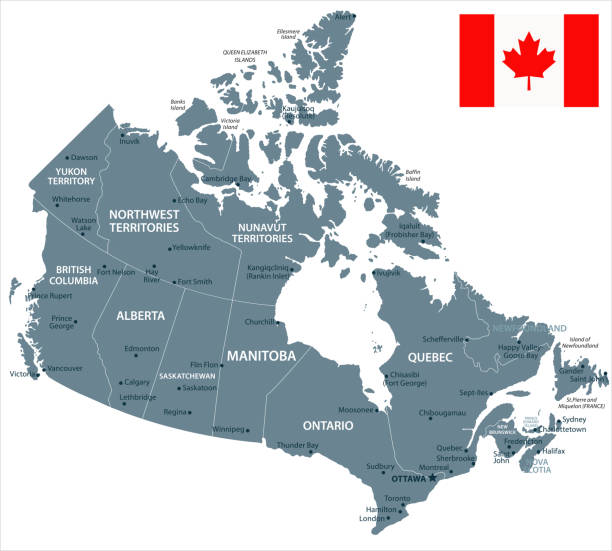 30 - Canada - Grayscale Isolated 10 Map of Canada - Vector illustration canada stock illustrations
