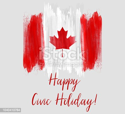 Canada Happy Civic holiday. Abstract grunge brushed Canada flag.