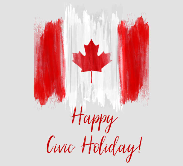 Canada Happy Civic holiday Canada Happy Civic holiday. Abstract grunge brushed Canada flag. city break stock illustrations