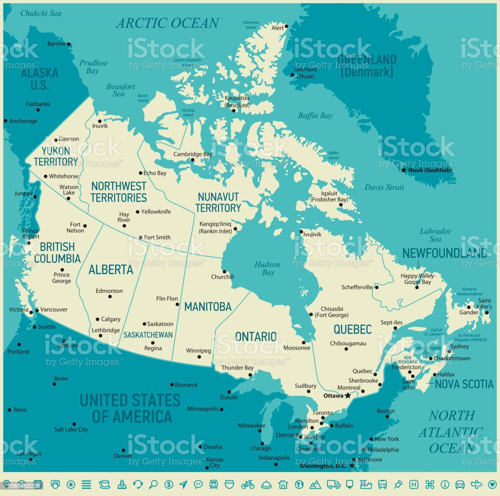 Detailed Map Of Canada.Canada High Detailed Map Vector Vintage Illustration Stock
