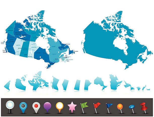Canada - highly detailed political map Highly detailed map of Canada with administrative divisions, cities, flag and navigation icons. quebec stock illustrations