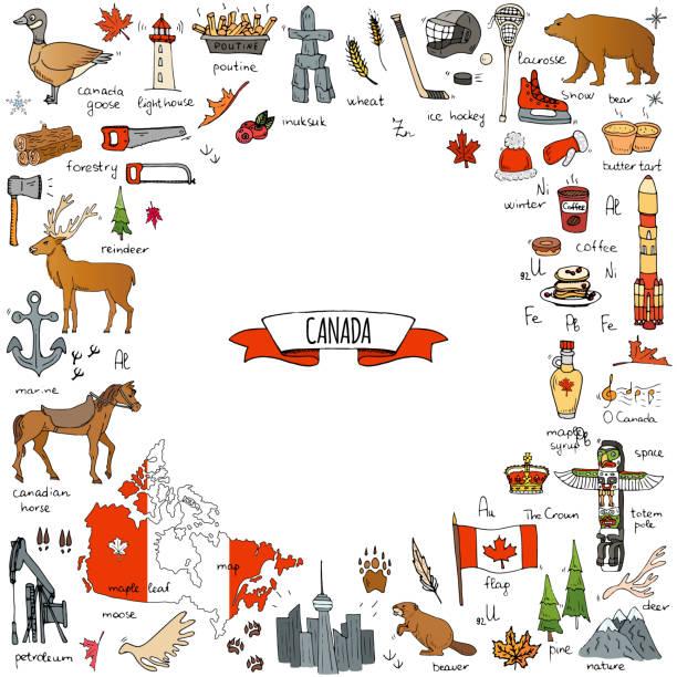 Canada icons set vector art illustration