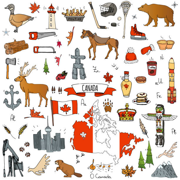 Canada icons set Hand drawn doodle Canada icons set Vector illustration isolated symbols collection of canadian symbols Cartoon elements: bear, map, flag, maple, beaver, deer, goose, totem pole, horse, hockey, poutine canada day illustrations stock illustrations