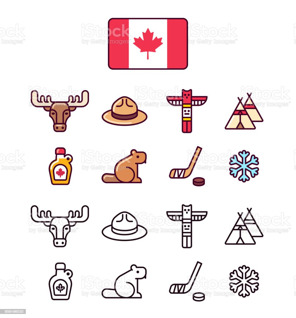 Canada icons set Canada icons set. Traditional Canadian signs and symbols. 2 styles, colored cartoon line icons and black outlines. Beaver stock vector