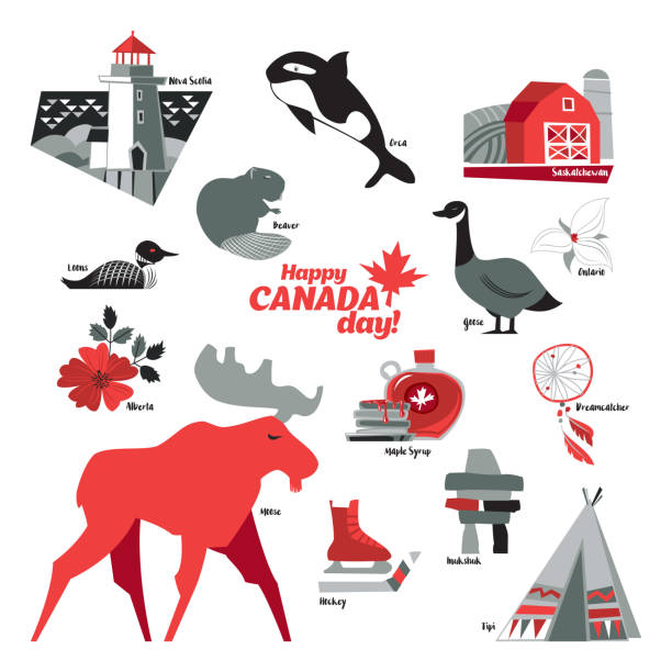 Canada Icons Set of Canada Icons. Vector illustration. peggy's cove stock illustrations