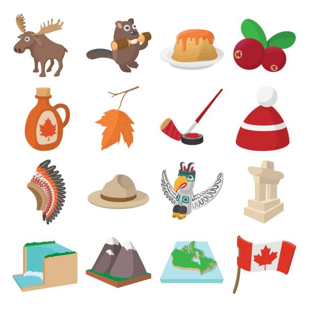 Canada icons Canada icons in cartoon style for web and mobile devices maple syrup stock illustrations