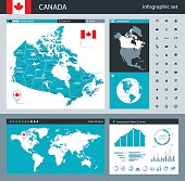 Vector maps of Canada with variable specification and icons
