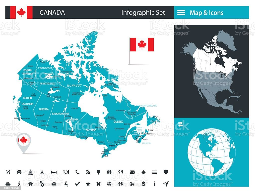 Canada - infographic map - Illustration vector art illustration