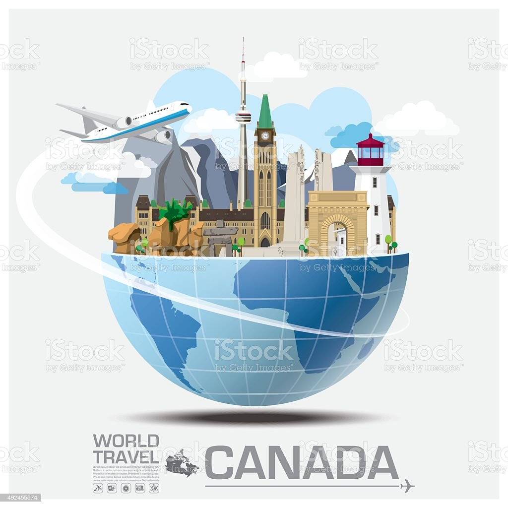 Canada Landmark Global Travel And Journey Infographic vector art illustration