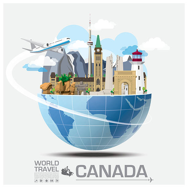 Canada Landmark Global Travel And Journey Infographic vector art illustration