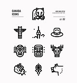 Include Canada map, aboriginal, bear and more. Outline icons Design. vector