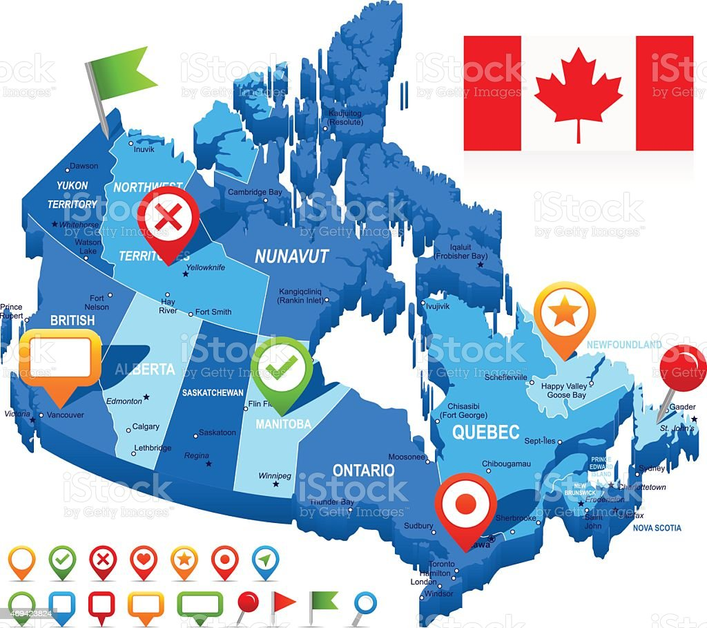 Canada map 3D, flag and navigation icons - illustration vector art illustration