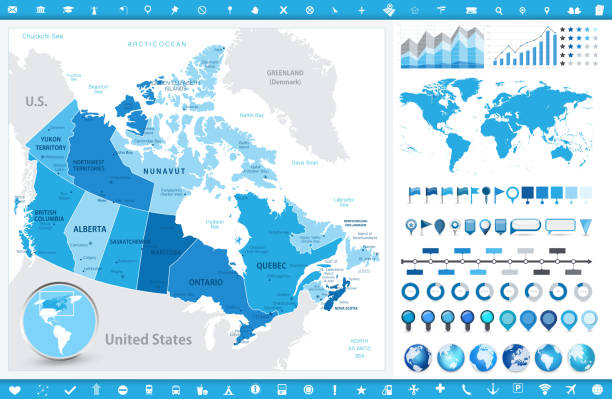 Canada Map and infographic elements Canada Map and infographic elements. Detailed vector illustration of map. quebec stock illustrations