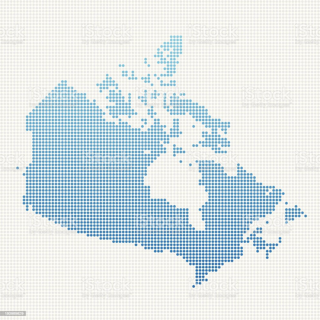 Canada Map Blue Dot Pattern vector art illustration