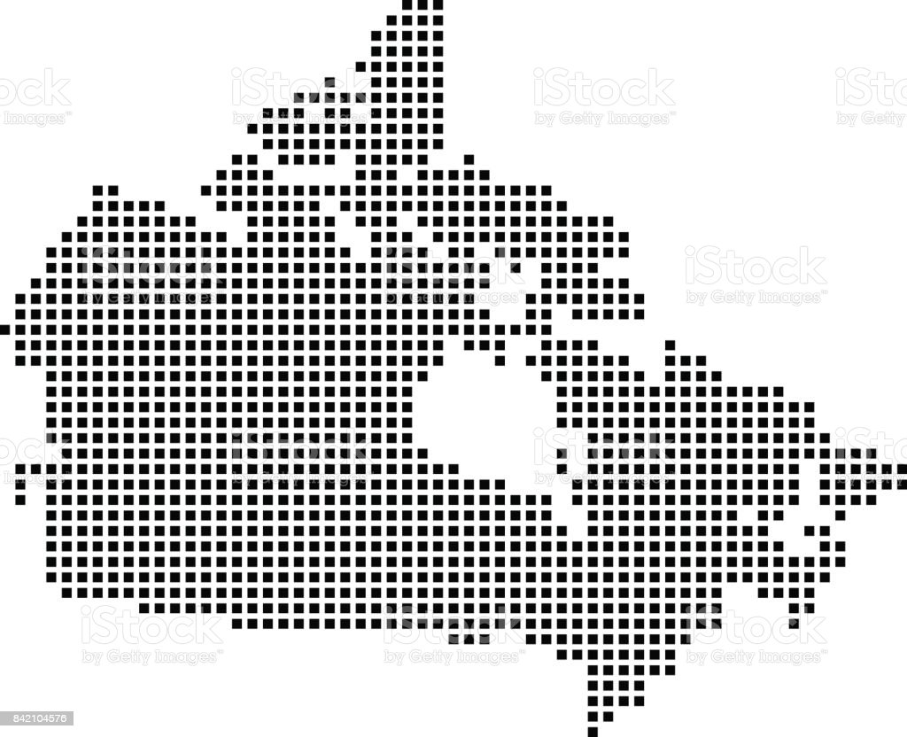 Canada Map Dots Dotted Canada Map Vector Outline Pixelated Canadian