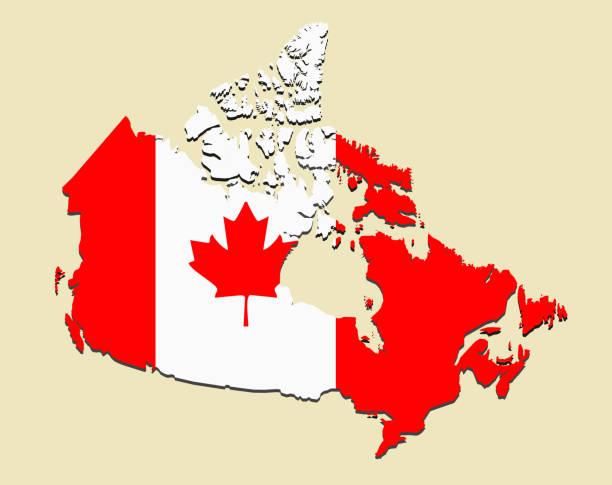 kanada flagge karte - flagge kanada stock-grafiken, -clipart, -cartoons und -symbole