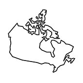 istock Canada map icon isolated on white background. Canadian simple outline map. Vector illustration 1221659657