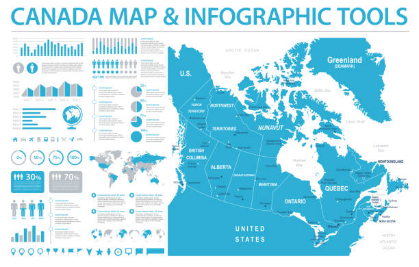 Canada Map - Info Graphic Vector Illustration Canada Map - Detailed Info Graphic Vector Illustration quebec stock illustrations