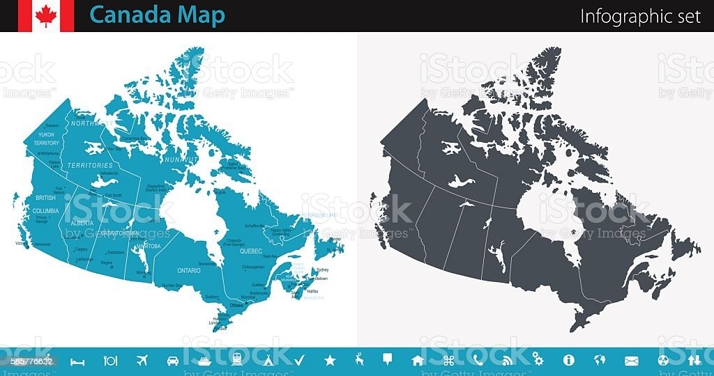Canada Map - Infographic Set vector art illustration