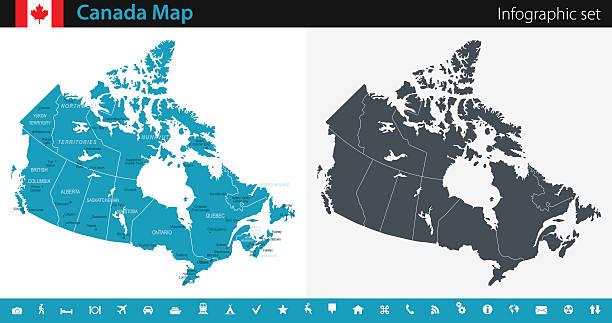 Canada Map - Infographic Set vector art illustration