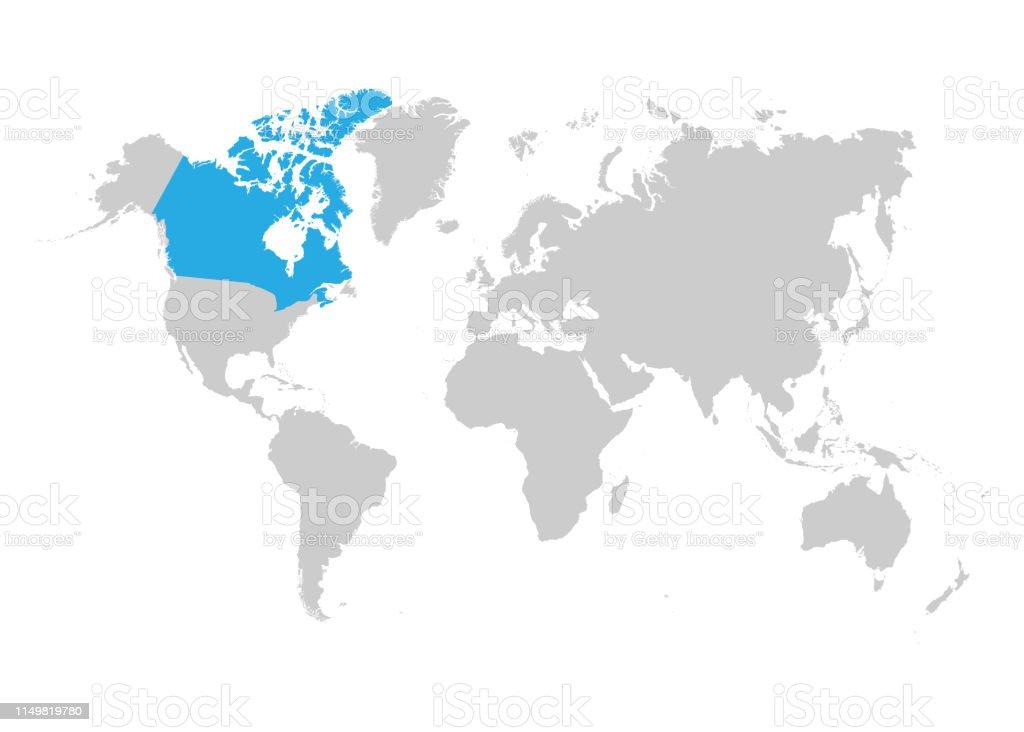 Canada Carte Du Monde.Carte Du Canada Est Surligne En Bleu Sur La Carte Du Monde