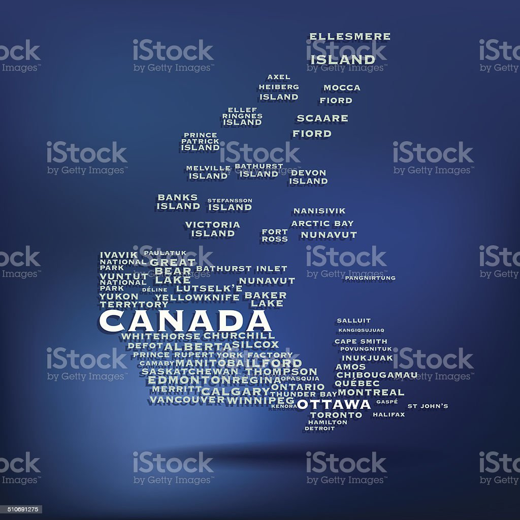 Canada map made with name of cities vector art illustration