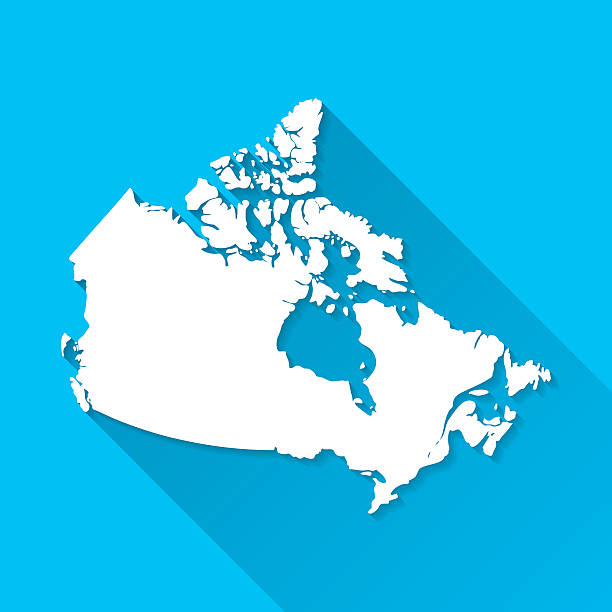 Canada Map on Blue Background, Long Shadow, Flat Design vector art illustration