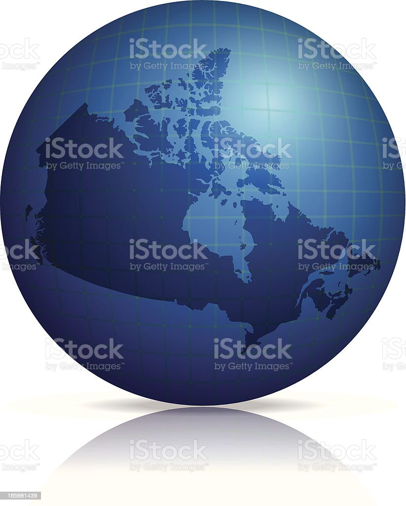 Canada Map on globe with shadow and reflection royalty-free stock vector art
