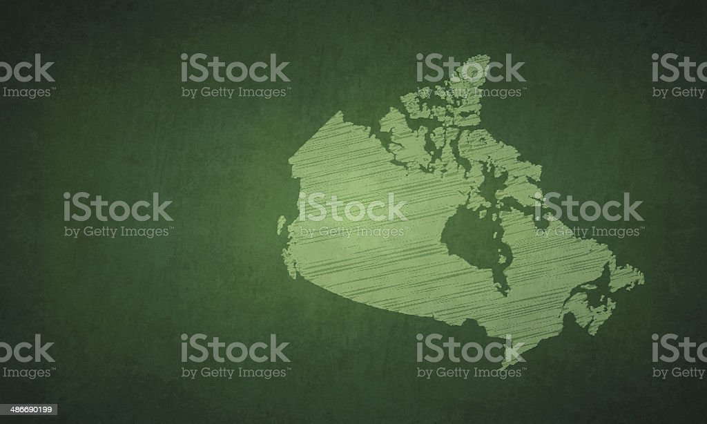 Canada map on greenboard royalty-free stock vector art