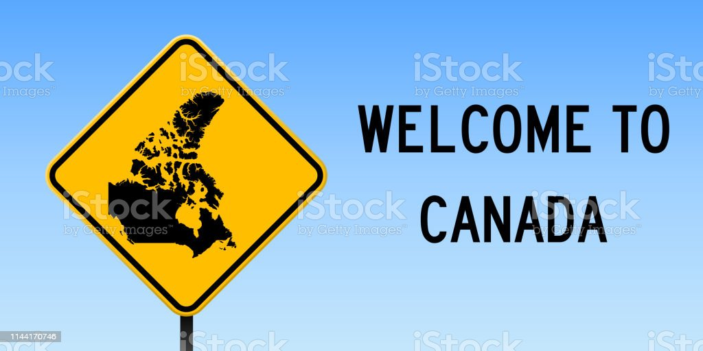 Canada Map On Road Sign Stock Illustration - Download Image