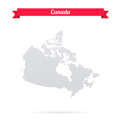 Canada map on white background with red banner