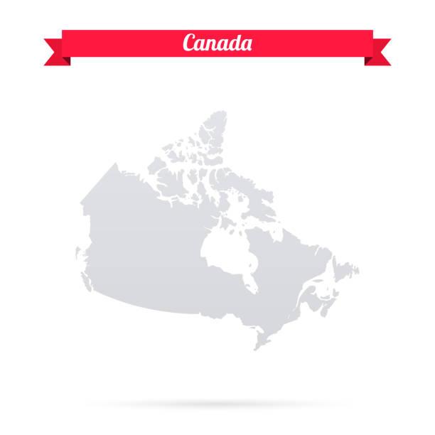 mapa kanady na białym tle z czerwonym banerem - kanada stock illustrations