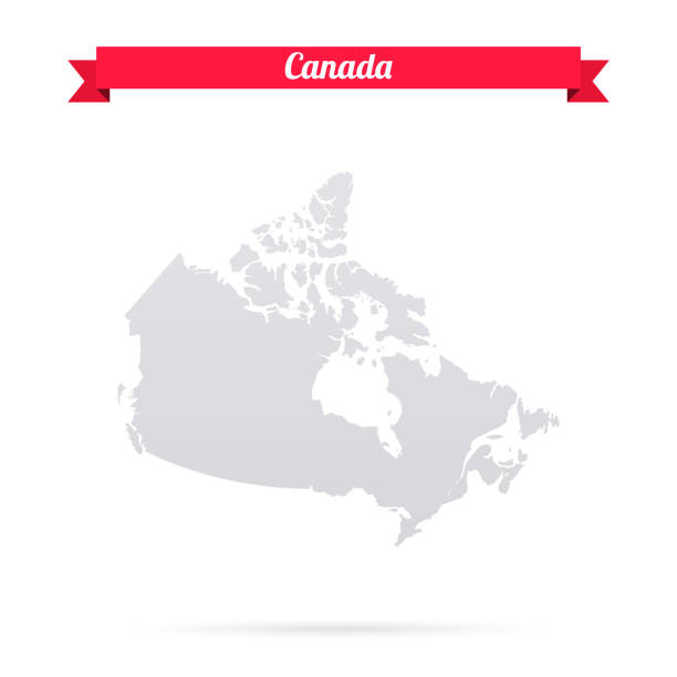Canada map on white background with red banner Map of Canada isolated on a blank background and with his name on a red ribbon. Vector Illustration (EPS10, well layered and grouped). Easy to edit, manipulate, resize or colorize. Please do not hesitate to contact me if you have any questions, or need to customise the illustration. http://www.istockphoto.com/portfolio/bgblue canada stock illustrations