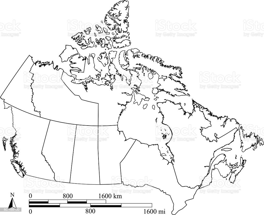 Canada Map Outline Vector With Scales In A Blank Design Stock Vector