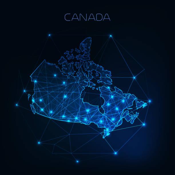 zarys mapy kanada z gwiazdami i liniami abstrakcyjne ramy. komunikacja, koncepcja połączenia. - kanada stock illustrations