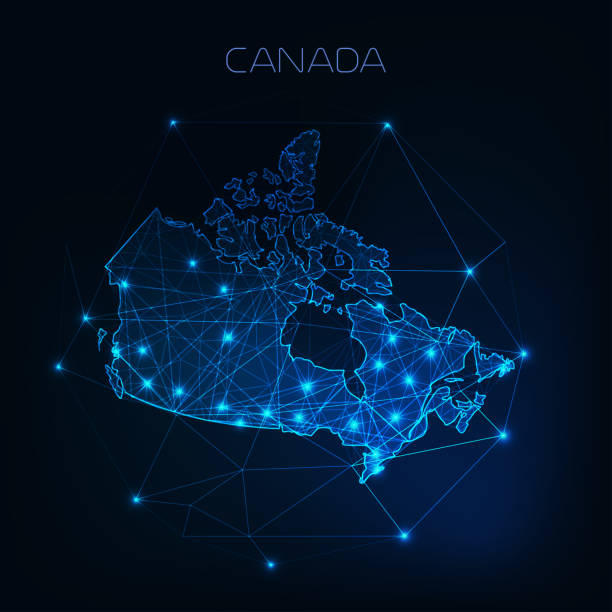 Canada map outline with stars and lines abstract framework. Communication, connection concept. Canada map outline with stars and lines abstract framework. Communication, connection concept. Modern futuristic low polygonal, wireframe, lines dots design. Vector illustration. canada stock illustrations