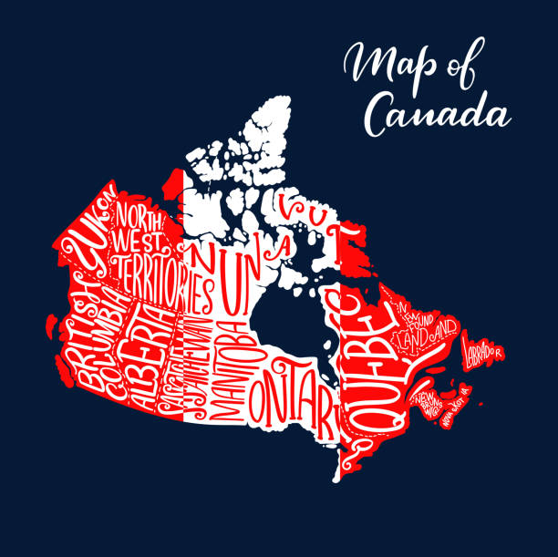 Canada map province and territory lettering vector art illustration