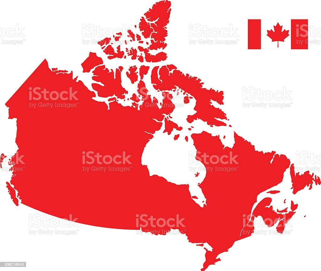 Canada Map silhouette with Flag vector art illustration