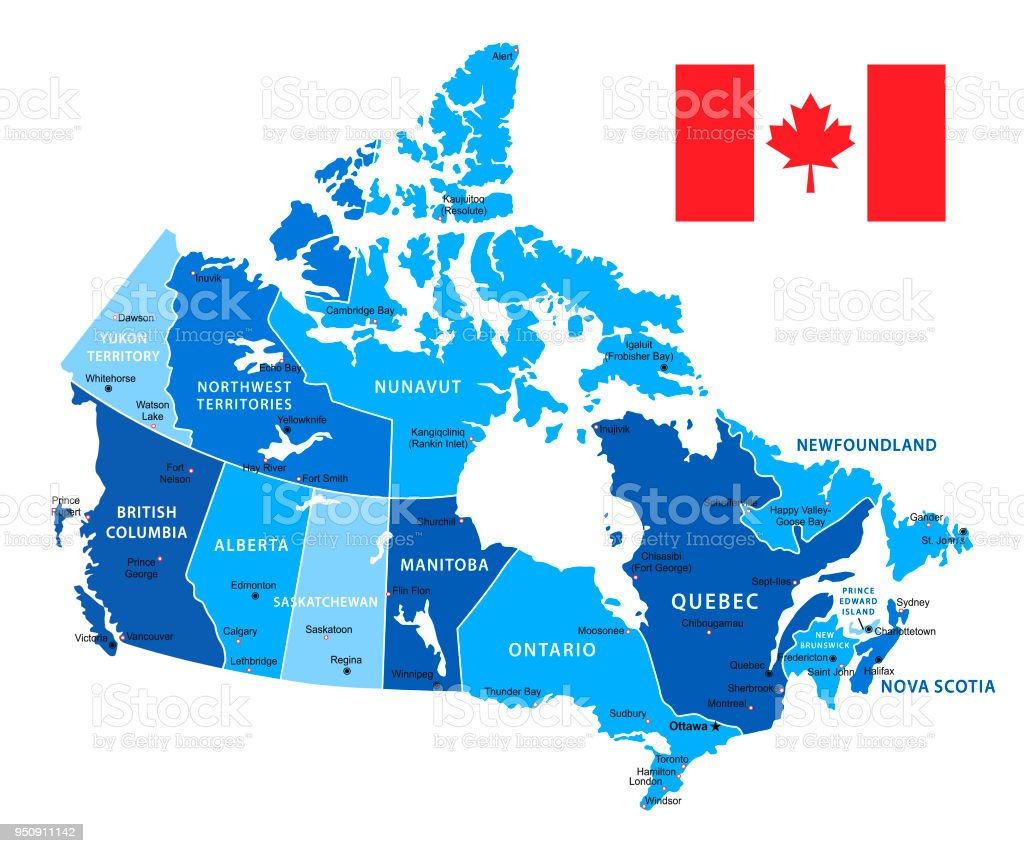 Canada Map Vector Blue Illustration Stock Vector Art More Images