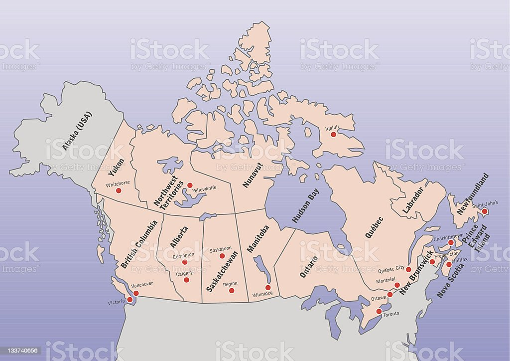 canada map (vector) royalty-free stock vector art