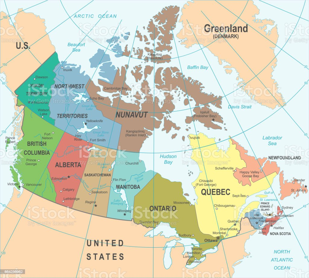 Canada Map - Vector Illustration royalty-free canada map vector illustration stock vector art & more images of blue