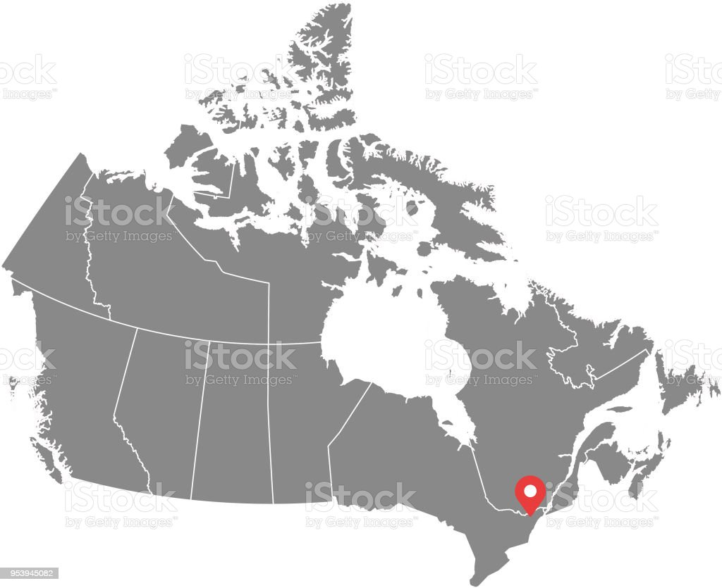 Canada map vector outline illustration with provinces or states borders and capital location, Ottawa, in gray background. Highly detailed accurate map of Canada prepared by a map expert. vector art illustration