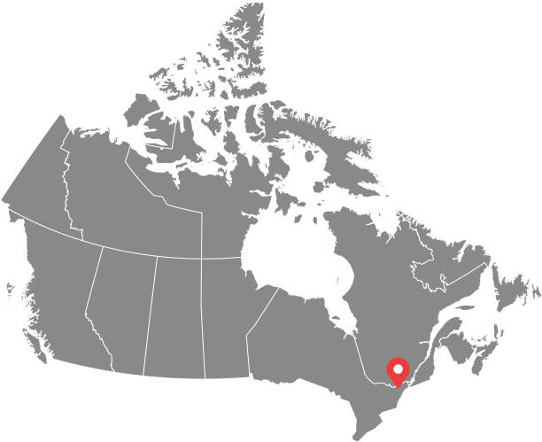 Canada map vector outline illustration with provinces or states borders and capital location, Ottawa, in gray background. Highly detailed accurate map of Canada prepared by a map expert. Canada map vector outline illustration with provinces or states borders and capital location, Ottawa, in gray background. Highly detailed accurate map of Canada prepared by a map expert. british columbia stock illustrations