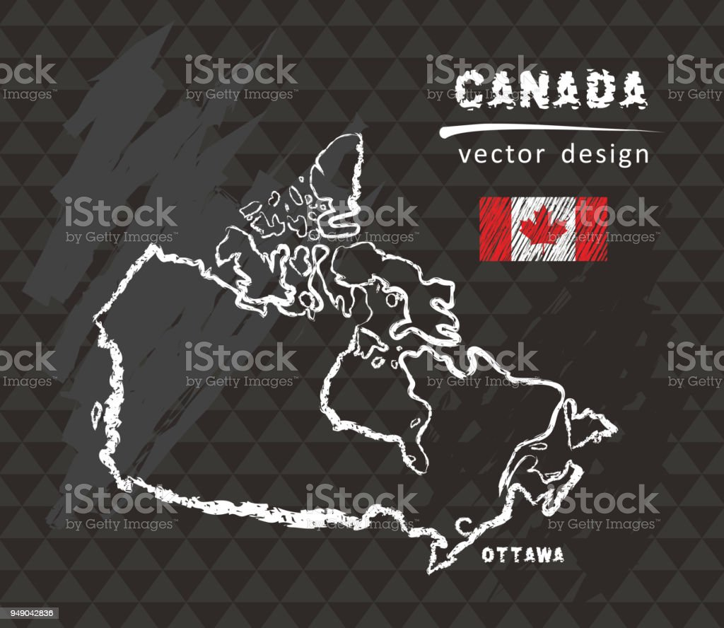 Canada map, vector pen drawing on black background vector art illustration