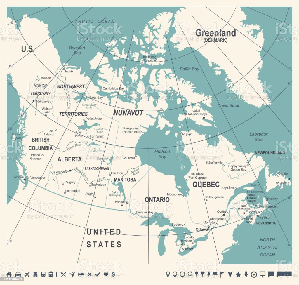Canada Map - Vintage Vector Illustration royalty-free canada map vintage vector illustration stock vector art & more images of calgary