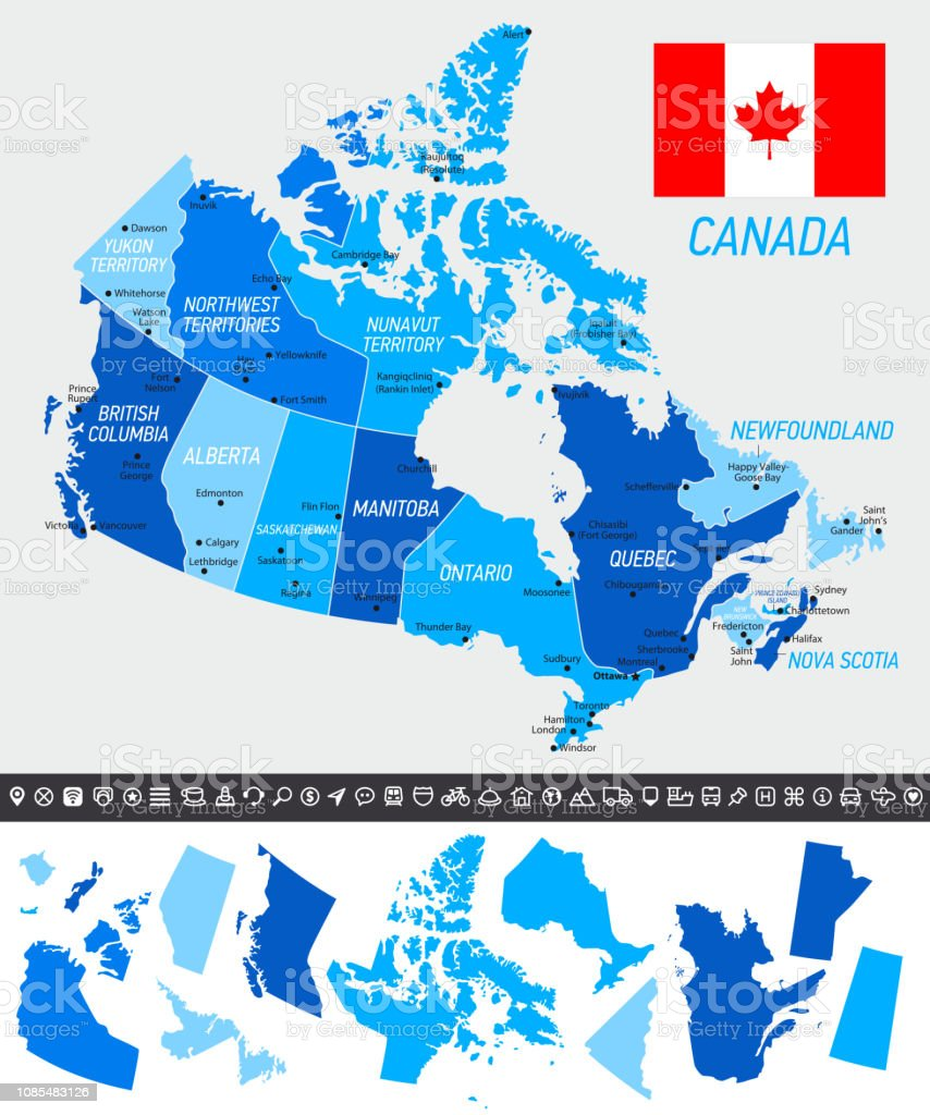 Picture of: Canada Map With National Flag Separated States And Navigation Icons Stock Illustration Download Image Now Istock