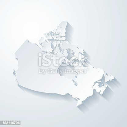 Map of Canada with a realistic paper cut effect isolated on white background. Vector Illustration (EPS10, well layered and grouped). Easy to edit, manipulate, resize or colorize. Please do not hesitate to contact me if you have any questions, or need to customise the illustration. http://www.istockphoto.com/bgblue/